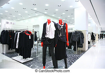 magasin, mannequins, vêtements