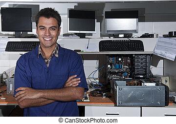 magasin, petit, réparation ordinateur, propriétaire, business