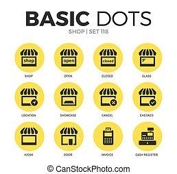 magasin, plat, vecteur, ensemble, icônes