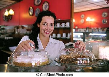 magasin, projection, serveuse, patisserie, savoureux, gâteaux