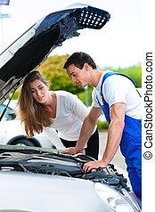 magasin, réparation, femme, voiture, conversation, mécanicien
