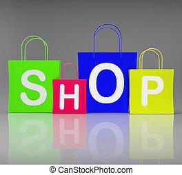 magasin, sacs, achats, exposition, vente au détail, achat