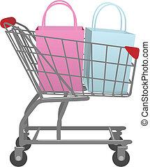 magasin, sacs, achats, grand, charrette, aller, vente au détail