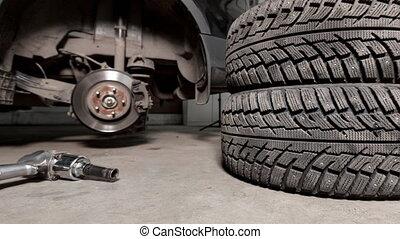 magasin, serrer, boulons, pneu, voiture, fusil, air, suspendu, auto