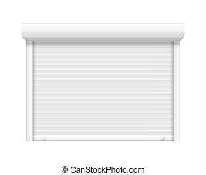 magasin, serrure, volet, fermé, magasin, rouleau, vecteur, réaliste, acier, fenêtre., garage, door., porte