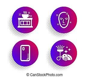 magasin, smartphone, couverture, maison, icônes, aspirateur, signe., figure, santé, thé, propre, café, set., téléphone., peau, vecteur
