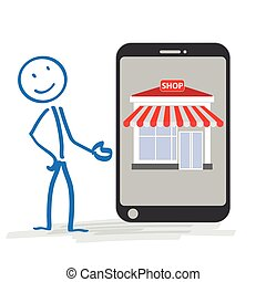 magasin, stickman, smartphone