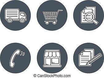 magasin, symboles, termes, conditions, gris, -, bouton, registre, magasins, signe, comment, vecteur, expédition, contact, navigation, achat, circulaire