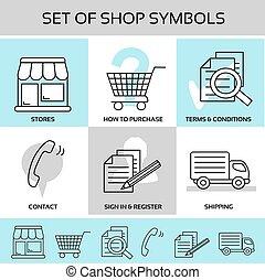 magasin, symboles, termes, conditions, registre, -, magasins, expédition, signe, comment, vecteur, contact, navigation, achat