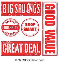 magasin, timbre, affaire, coût, bas, grand, économies, bon, intelligent, grand, valeur