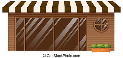 magasin, verre, café, porte