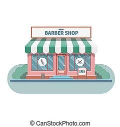 magasin, ville, coiffeur, vector.