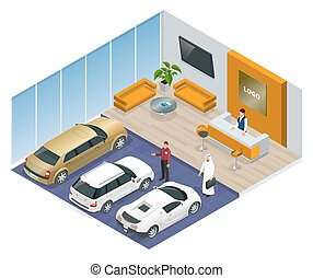 magasin, voitures, commercially, stand, voiture, coloré