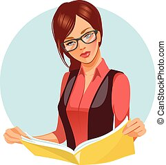 magazine., lecture femme