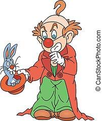 magicien, clown, lapin