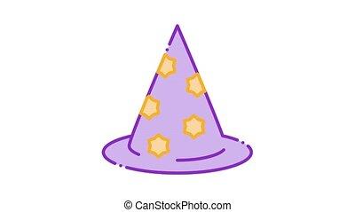 magicien, icône, chapeau, animation