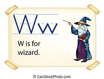 magicien, lettre, w