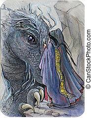 magicien, réunion, dragon