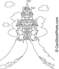 magie, château, coloration, page