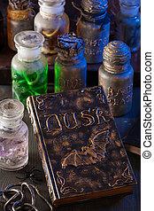 magie, halloween, décoration, livre, sorcière, apothicaire, pots, potions