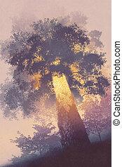 magie, incandescent, arbre, lumière