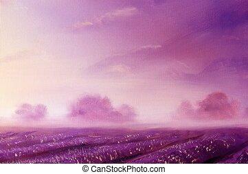 magique, champs, peinture huile, canevas., lavande, aube