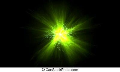 magnétique, champ vert, &, éclair