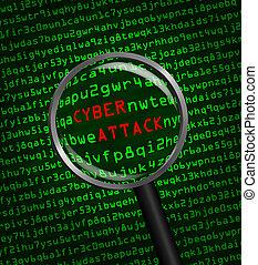 magnifier, cyber, par, code, attaque, informatique, machine, révélé, mots, verre