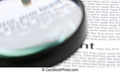 magnifier, journal, mots, projection, verre