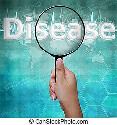 magnifier, maladie, fond, monde médical, verre, mot