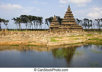mahabalipuram, rivage, -, inde, temple