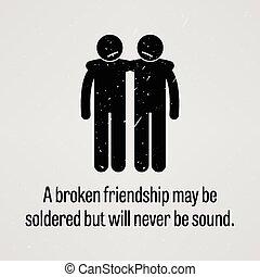 mai, être, amitié, soudé, cassé
