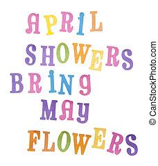 mai, avril, fleurs, douches, apporter