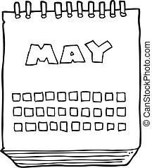 mai, projection, mois, noir, blanc, calendrier, dessin animé