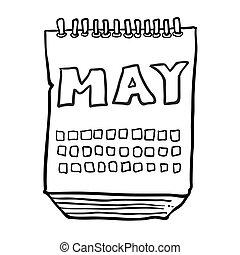 mai, projection, mois, noir, freehand, dessiné, calendrier, blanc, dessin animé