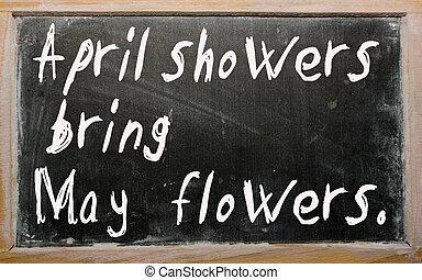 """mai, tableau noir, """"april, apporter, écrit, douches, flowers"""""""