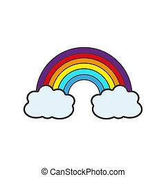maille, couleur, arc-en-ciel, gradient, vecteur, illustration, nuages