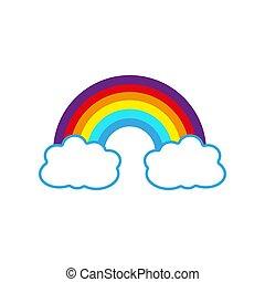 maille, vecteur, couleur, gradient, arc-en-ciel, nuages, illustration