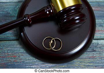 maillet, bois, anneaux, closeup, mariage, table