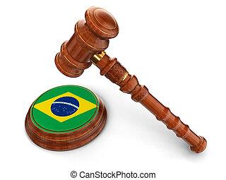 maillet, brésilien, bois, drapeau
