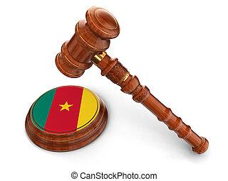 maillet, camerounais, bois, drapeau