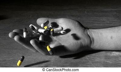 main, aft, tenue, tomber, équipe, pilules