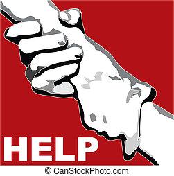main, agrafé, aide