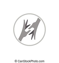 main aidant, 3d, vecteur, logo