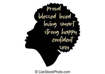 main, américain, écrit, woman., beau, africain femelle, clipart, vecteur, décoré, silhouette., text., girl, profile., noir