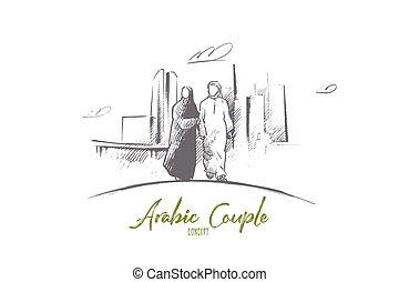 main, arabe, dessiné, vector., isolé, couple, concept.