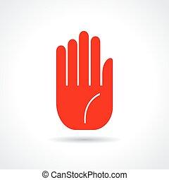 main, arrêt, icône