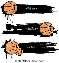 main, basket-ball, ensemble, dessiné, grunge, bannières