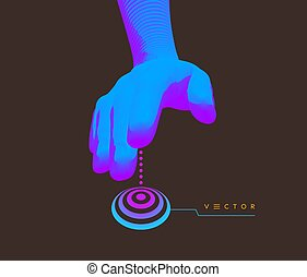 main, button., ou, futuriste, business, internet., presse, style., technologie, 3d, vecteur, prêt, technologie, science, illustration