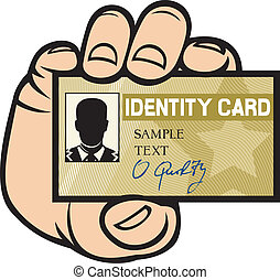 main, carte identification, tenue